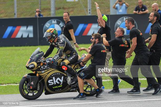 Francesco Bagnaia of SKY Racing Team VR46 celebrate after becoming the Moto2 world champion at the end of the Moto2 class race of the Malaysian...