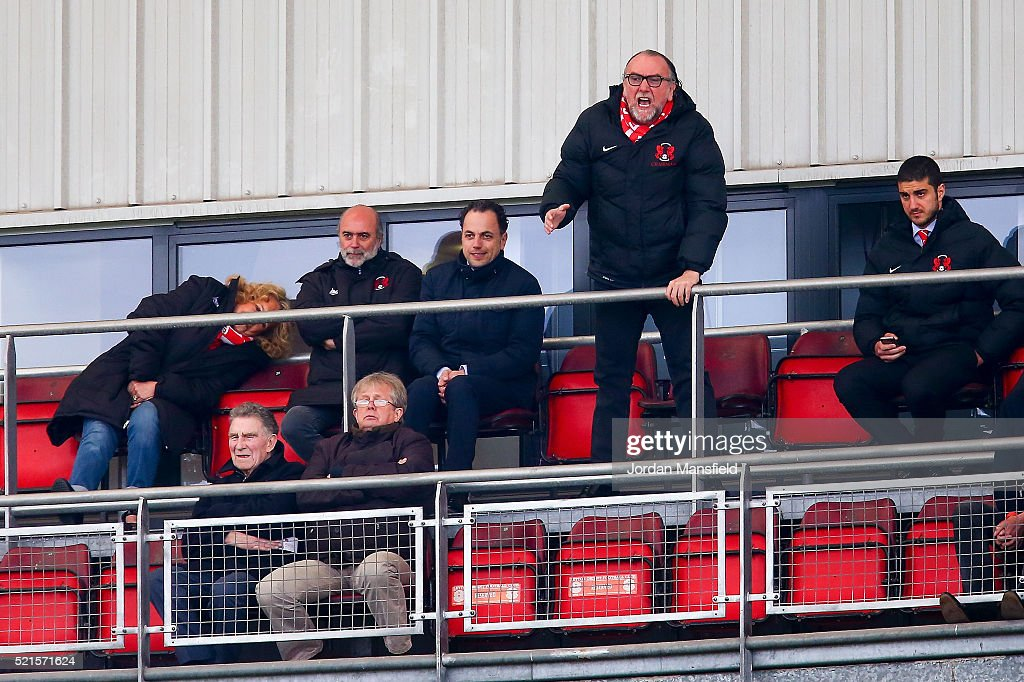 Francesco Becchetti, Chairman of Leyton Orient shouts from the box during the Sky Bet League Two match between Leyton Orient and Dagenham & Redbridge at Brisbane Road on April 16, 2016 in London, England.