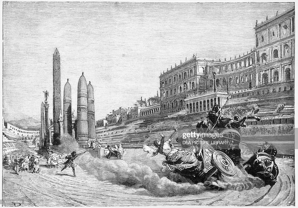 Early history of Rome, Messalina falls from her chariot during a race at Circus Maximus, by Ludovico Pogliaghi, illustration : ニュース写真