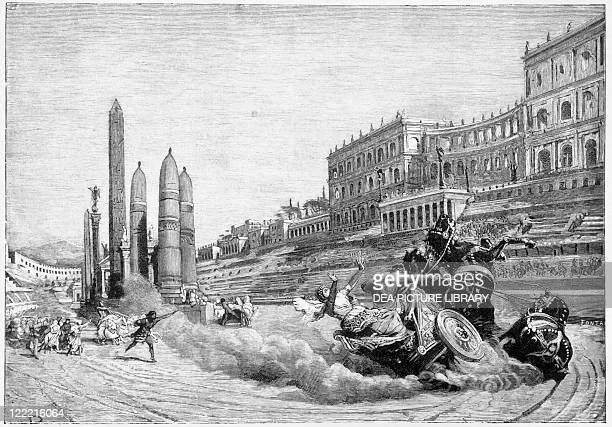Francesco Bertolini , Early history of Rome, 1890 edition. Messalina falls from her chariot during a race at Circus Maximus. Illustration by Ludovico...