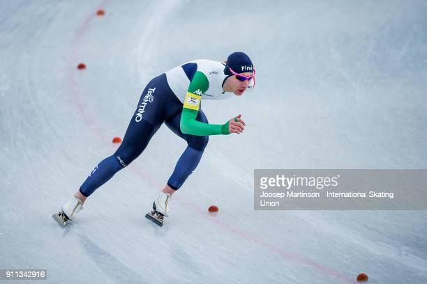 Francesco Betti of Italy competes in the Men's 1500m during day two of the ISU Junior World Cup Speed Skating at Olympiaworld Ice Rink on January 28...