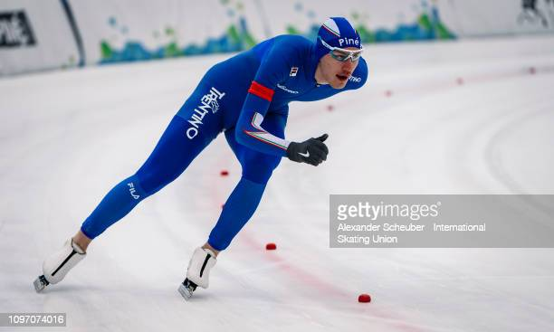 Francesco Betti of Italy competes in the Mens 1500m sprint race during the ISU Junior World Cup Speed Skating Final Day 2 on February 9 2019 in...