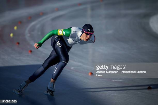 Francesco Betti of Italy competes in the Men's 3000m during the ISU Junior World Cup Speed Skating at Olympiaworld Ice Rink on January 27, 2018 in...