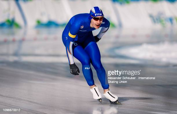Francesco Betti of Italy performs in the Mens 3000m sprint race during the ISU Junior World Cup Speed Skating Final day 1 on February 9 2019 in...