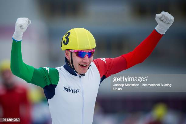 Francesco Betti of Italy reacts in the Men's Mass Start during day two of the ISU Junior World Cup Speed Skating at Olympiaworld Ice Rink on January...