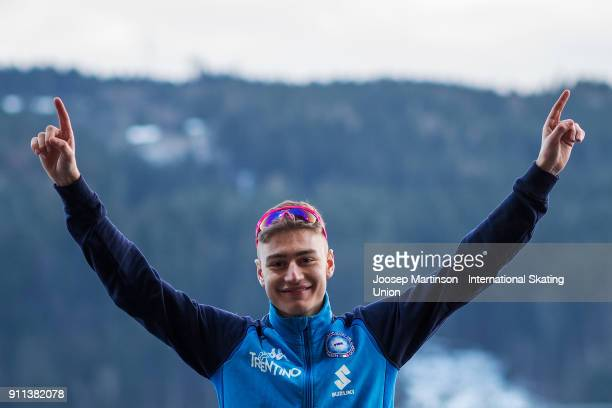 Francesco Betti of Italy reacts in the Men's Mass Start medal ceremony during day two of the ISU Junior World Cup Speed Skating at Olympiaworld Ice...