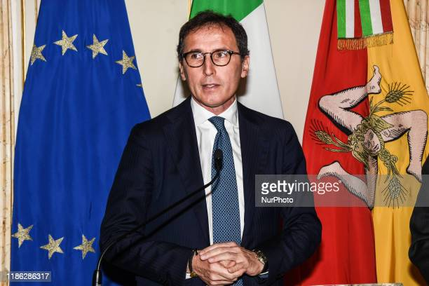 Francesco Boccia the Minister for Regional Affairs and the autonomy of the Conte II Government visiting Palermo meets the president of the Sicilian...