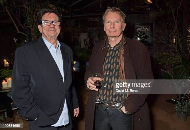 Francesco Boglione and Julien Temple attend the launch of new positive media platform 'whynow' at Petersham Nurseries on March 12 2020 in London...
