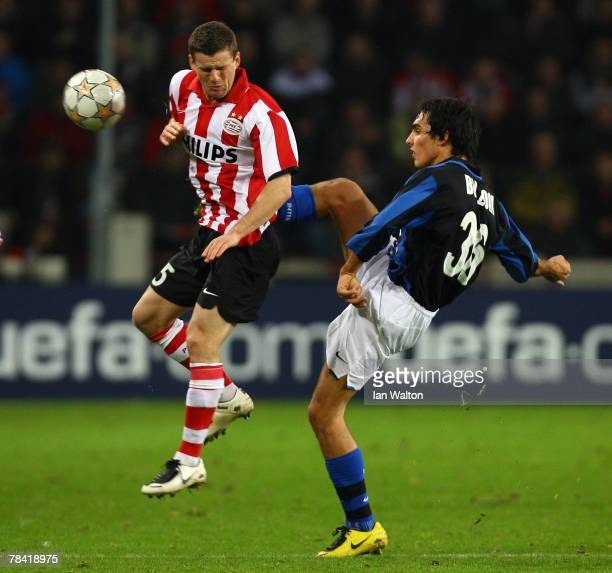 Francesco Bolzoni of Inter Milan and Mike Zonneveld of PSV Eindhoven in action during the UEFA Champions League Group G match between PSV Eindhoven...