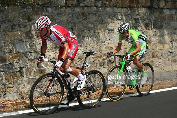 Francesco Bongiorno of Italy and BardianiCSF and Eduard Vorganov of Russia and Katusha in action during the eleventh stage of the 2014 Giro d'Italia...