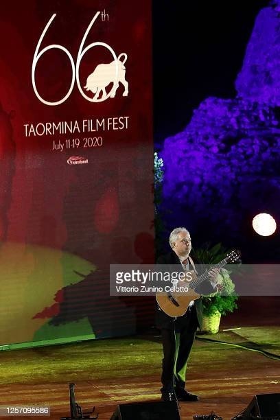 Francesco Buzzurro performs during the closing night of the Taormina Film Festival on July 19 2020 in Taormina Italy