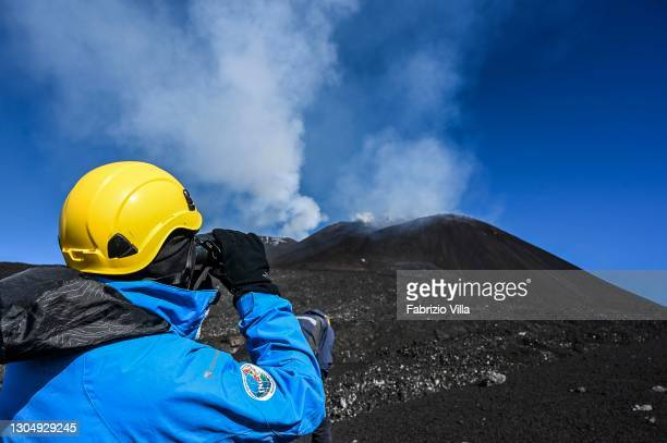 Francesco Calvagna, technical operator at the National Institute of Geophysics and Volcanology in Catania, during a monitoring activity on Etna at...