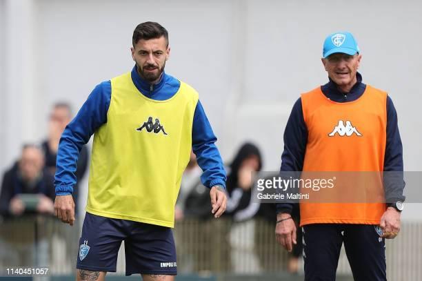 Francesco Caputo and Aurelio Andreazzoli manager of Empoli FC during training session on May 1 2019 in Empoli Italy