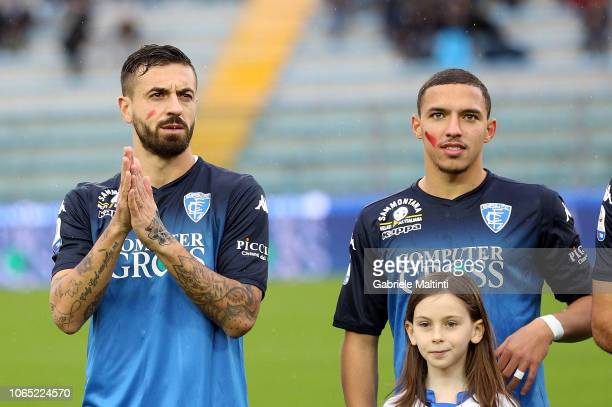 Francesco Caputo and Ismael Bennacer of Empoli FC during the Serie A match between Empoli and Atalanta BC at Stadio Carlo Castellani on November 25...