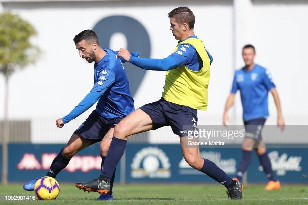 Francesco Caputo and Michal Marcjanik of Empoli FC during a training session on October 24 2018 in Empoli Italy
