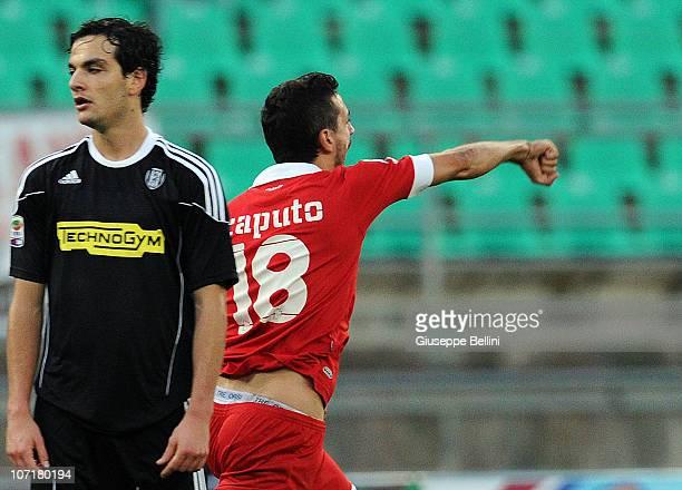 Francesco Caputo of Bari celebrates after scoring during the Serie A match between Bari and Cesena at Stadio San Nicola on November 28 2010 in Bari...