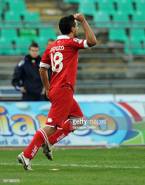 Francesco Caputo of Bari celebrates after scoring the goal 11 during the Serie A match between Bari and Cesena at Stadio San Nicola on November 28...