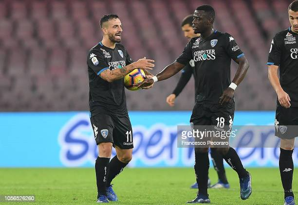 Francesco Caputo of Empoli celebrates after scoring the 21 goal during the Serie A match between SSC Napoli and Empoli at Stadio San Paolo on...