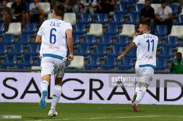 Francesco Caputo of Empoli celebrates after scoring the opening goal during the serie A match between US Sassuolo and Empoli at Mapei Stadium Citta'...