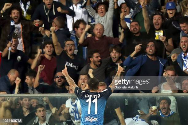 Francesco Caputo of Empoli FC celebrates after scoring a goal during the Serie A match between Empoli and Juventus at Stadio Carlo Castellani on...