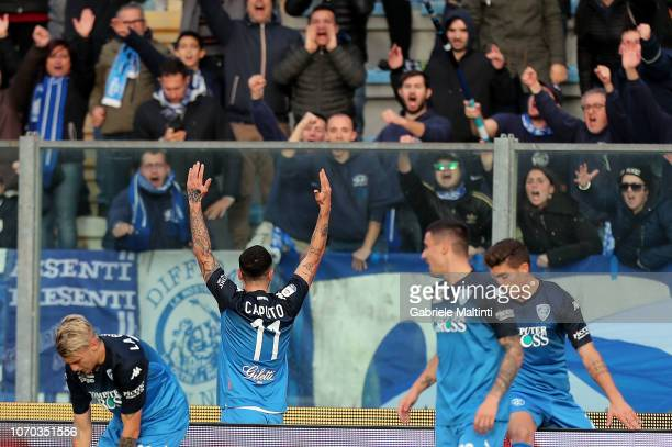 Francesco Caputo of Empoli FC celebrates after scoring a goal during the Serie A match between Empoli and Bologna FC at Stadio Carlo Castellani on...