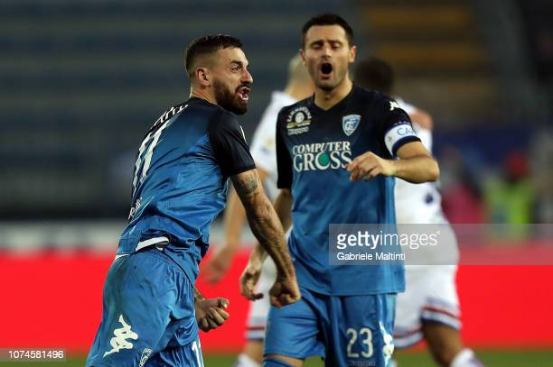 Francesco Caputo of Empoli FC celebrates after scoring a goal during the Serie A match between Empoli and UC Sampdoria at Stadio Carlo Castellani on...