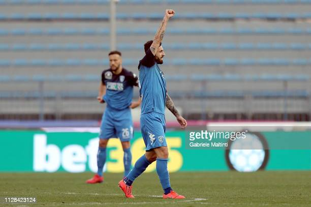 Francesco Caputo of Empoli FC celebrates after scoring a goal during the Serie A match between Empoli and Parma Calcio at Stadio Carlo Castellani on...