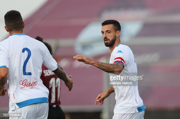 Francesco Caputo of Empoli FC celebrates after scoring a goal on September 6 2018 in Arezzo Italy