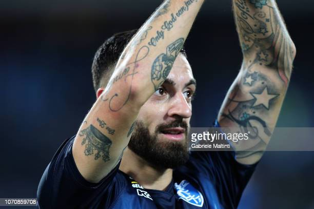 Francesco Caputo of Empoli FC celebrates the victory after during the Serie A match between Empoli and Bologna FC at Stadio Carlo Castellani on...