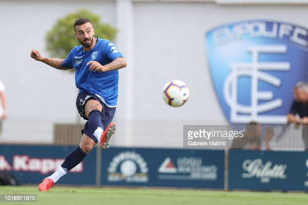 Aurelio Andreazzoli manager of Empoli FC and his assistant manager Giacomo Lazzini speak during the training session on August 15 2018 in Empoli Italy