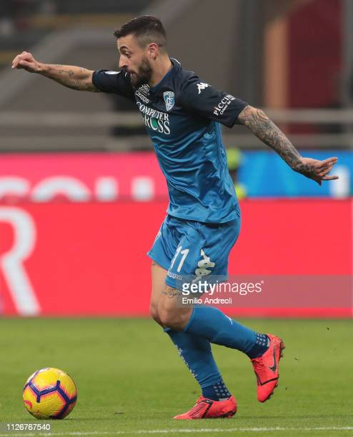 Francesco Caputo of Empoli FC in action during the Serie A match between AC Milan and Empoli at Stadio Giuseppe Meazza on February 22 2019 in Milan...