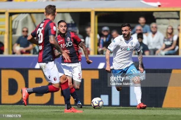 Francesco Caputo of Empoli FC in action during the Serie A match between Bologna FC and Empoli at Stadio Renato Dall'Ara on April 27 2019 in Bologna...