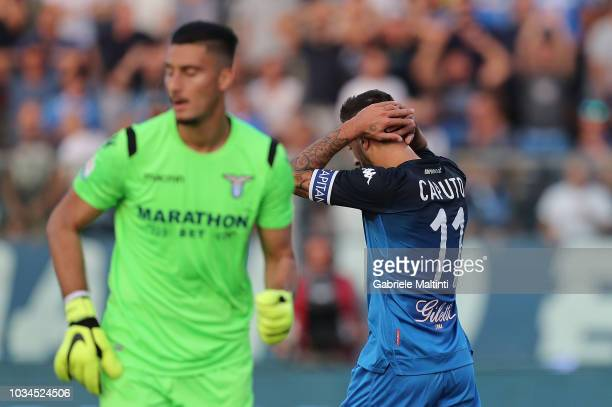 Francesco Caputo of Empoli FC in action during the serie A match between Empoli and SS Lazio at Stadio Carlo Castellani on September 16 2018 in...