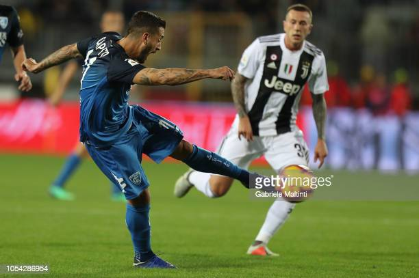 Francesco Caputo of Empoli FC in action during the Serie A match between Empoli and Juventus at Stadio Carlo Castellani on October 27 2018 in Empoli...