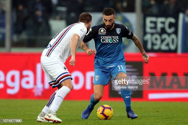 Francesco Caputo of Empoli FC in action during the Serie A match between Empoli and UC Sampdoria at Stadio Carlo Castellani on December 22 2018 in...