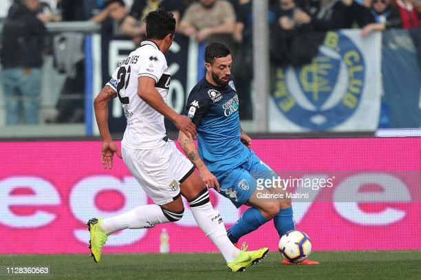 Francesco Caputo of Empoli FC in action during the Serie A match between Empoli and Parma Calcio at Stadio Carlo Castellani on March 2 2019 in Empoli...