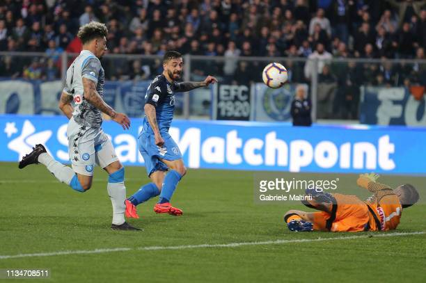 Francesco Caputo of Empoli Fc in action during the Serie A match between Empoli and SSC Napoli at Stadio Carlo Castellani on April 3 2019 in Empoli...