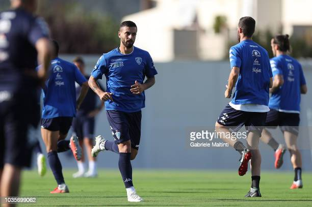 Francesco Caputo of Empoli FC in action during training session on September 18 2018 in Empoli Italy