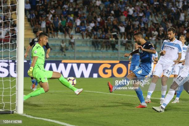 Francesco Caputo of Empoli Fc misses a goal during the serie A match between Empoli and SS Lazio at Stadio Carlo Castellani on September 16 2018 in...