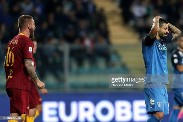 Francesco Caputo of Empoli Fc misses a penalty during the Serie A match between Empoli and AS Roma at Stadio Carlo Castellani on October 6 2018 in...