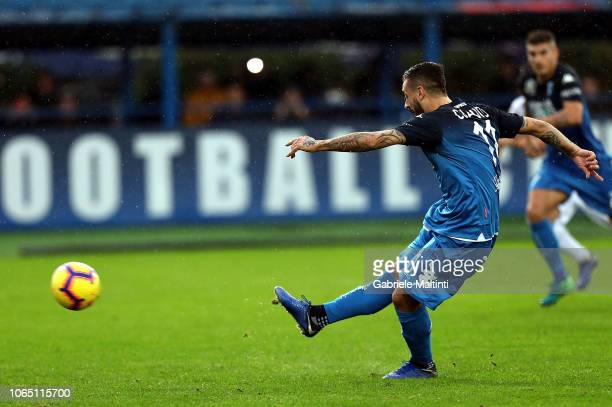 Francesco Caputo of Empoli Fc misses a penalty during the Serie A match between Empoli and Atalanta BC at Stadio Carlo Castellani on November 25 2018...