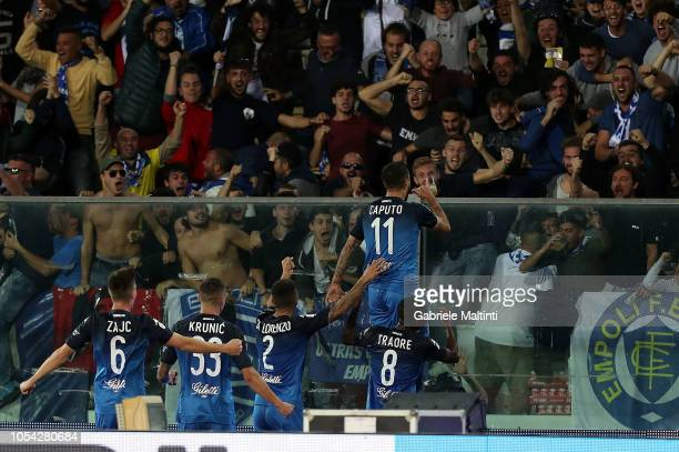 Francesco Caputo of Empoli FC players celebrate a goal during the Serie A match between Empoli and Juventus at Stadio Carlo Castellani on October 27...