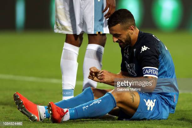 Francesco Caputo of Empoli FC reacts during the serie A match between Empoli and SS Lazio at Stadio Carlo Castellani on September 16 2018 in Empoli...