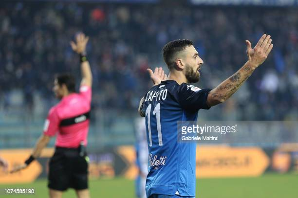 Francesco Caputo of Empoli FC reacts during the Serie A match between Empoli and UC Sampdoria at Stadio Carlo Castellani on December 22 2018 in...