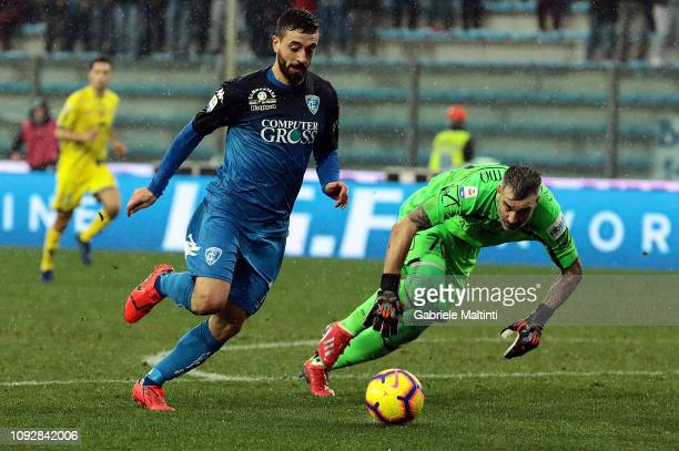 Francesco Caputo of Empoli FC scores a goal during the Serie A match between Empoli and Chievo at Stadio Carlo Castellani on February 2 2019 in...
