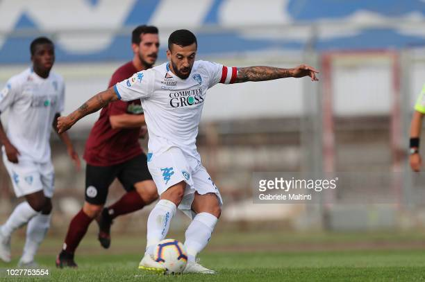 Francesco Caputo of Empoli FC scores a goal on September 6 2018 in Arezzo Italy