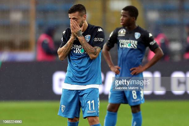 Francesco Caputo of Empoli FC shows his dejection during the Serie A match between Empoli and Atalanta BC at Stadio Carlo Castellani on November 25...