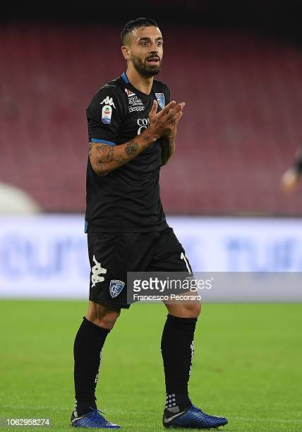 Francesco Caputo of Empoli in action during the Serie A match between SSC Napoli and Empoli at Stadio San Paolo on November 2 2018 in Naples Italy