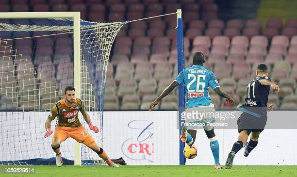 Francesco Caputo of Empoli scores the 21 goal during the Serie A match between SSC Napoli and Empoli at Stadio San Paolo on November 2 2018 in Naples...