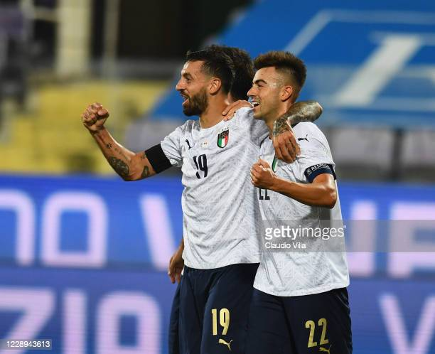 Francesco Caputo of Italy celebrates with Stephan El Shaarawy after scoring his team's second goal during the international friendly match between...